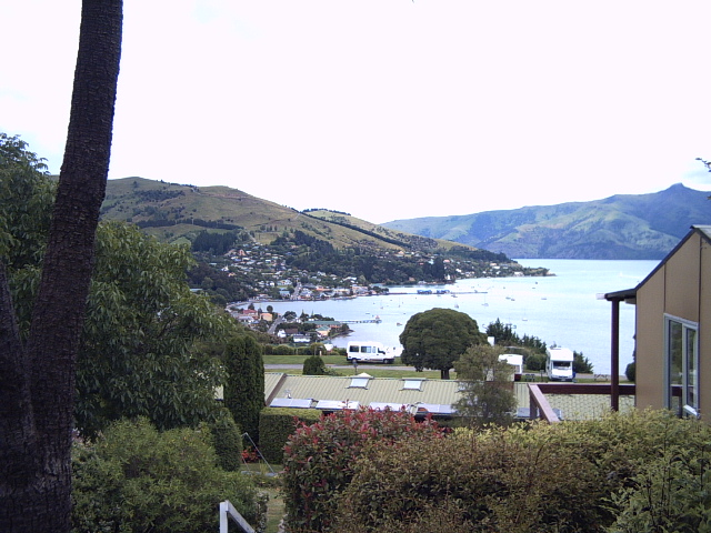 View of the harbour in Akaroa, New Zealand