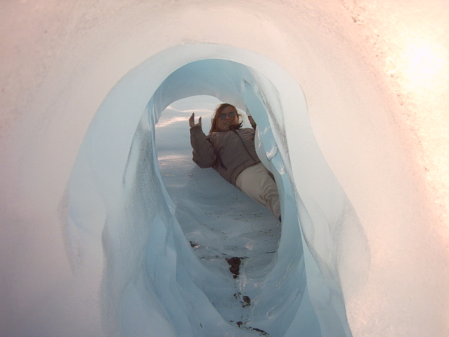 In an ice cave on Fox glacier New Zealand