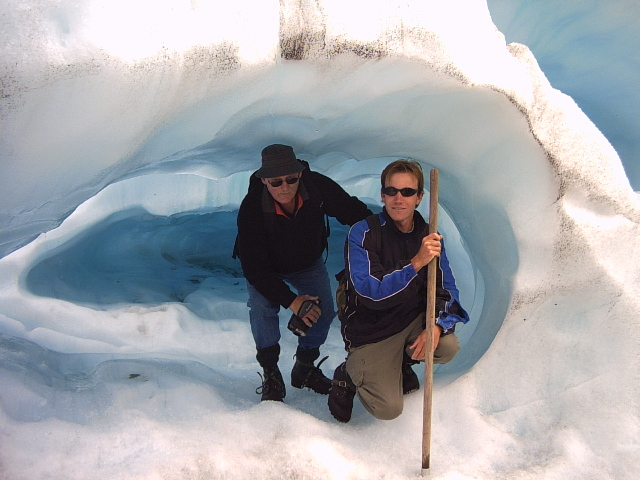 Standing in an ice cave on Fox Glacier New Zealand