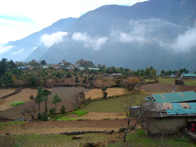 View of farmland and houses on Everest base camp trek