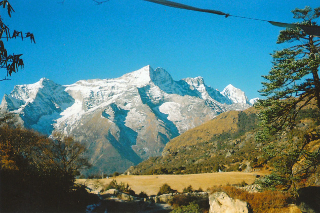 View of mountains over Namche Bazaar, Nepal