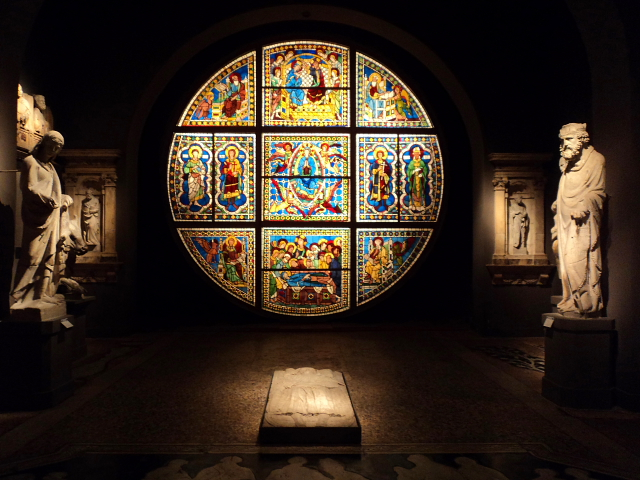stained glass window inside Museo dell'Opera, Siena