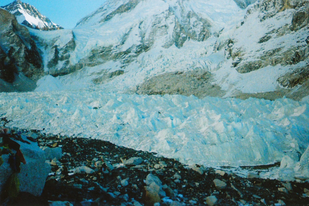 View of the Khumbu Glacier, Nepal on the way to Mount Everest base camp