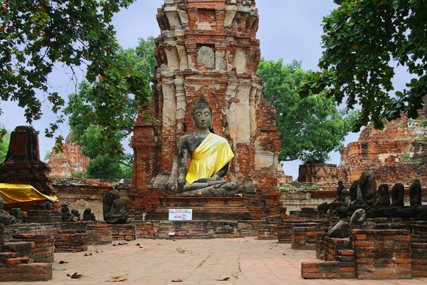 Buddha at the Ruins of Wat Mahathat in Ayutthaya, Thailand