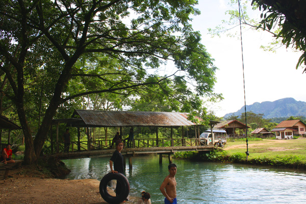 Swimming in the Blue lagoon near Vang Vieng, Laos