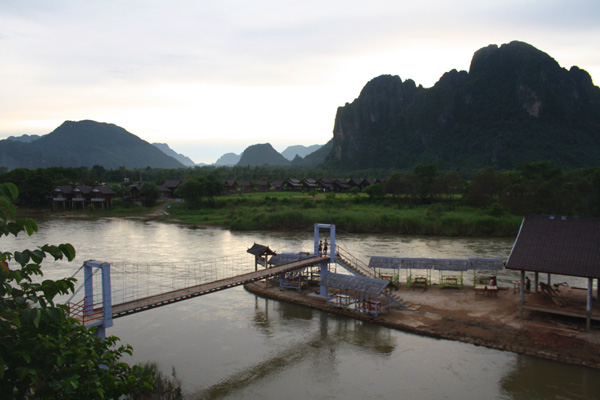 View of the Nam Song River in Vang Vieng, laos
