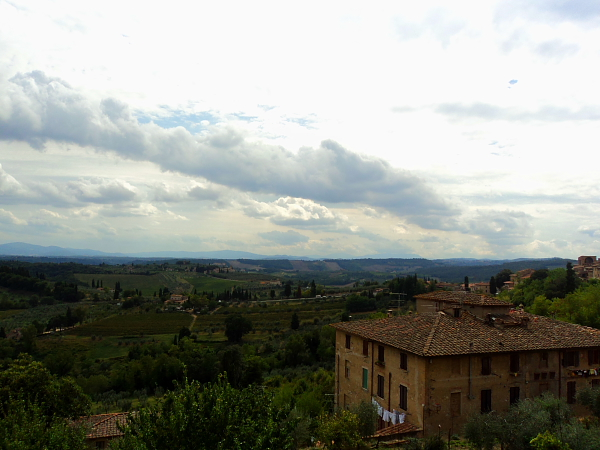 View of countryside in San Gimignano, Italy