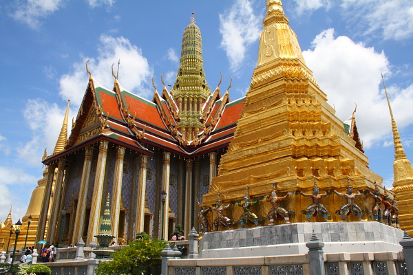 A golden chedi and the Royal Pantheon at Wat Phra Kaew in Bangkok, Thailand