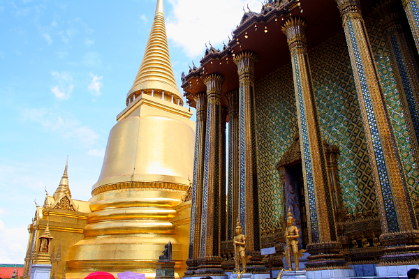 Phra Mondop library and golden chedi at Wat Phra Kaew in Bangkok, Thailand