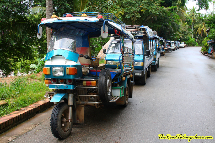 A line of Tuk Tuks in Luang Prabang, Laos