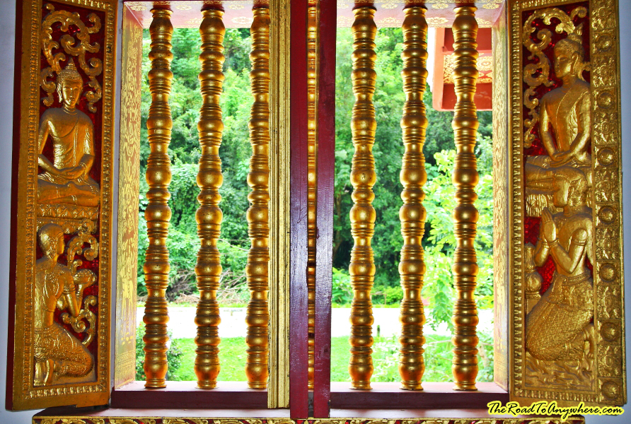 A window in Haw Pha Bang in Luang Prabang, Laos