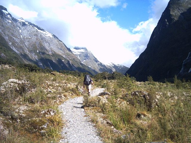 Hiking up the Clinton Valley on the Milford Track, New Zealand