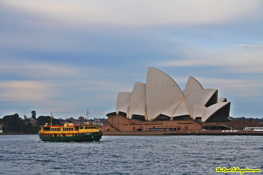 A ferry in the harbour at the Sydney Opera House in Sydney, Australia