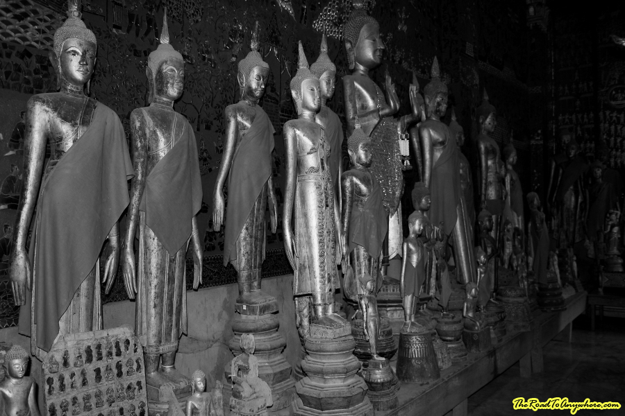 Buddha statues in black and white in Luang Prabang, Laos