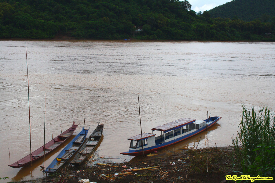 Boats on the Mekong River in Luang Prabang, Laos