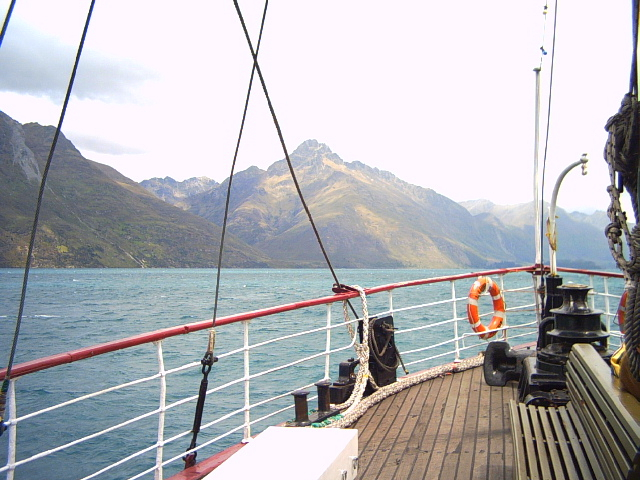 View of Lake Wakatipu from a steamboat in Queenstown, New Zealand
