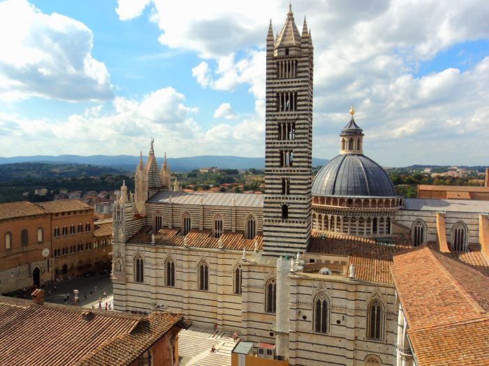 Siena Cathedral from the Panorama del Facciatone in Siena, Italy