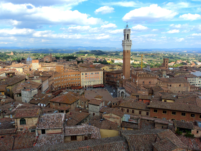 Piazza del Campo from the Panorama del Facciatone in Siena, Italy