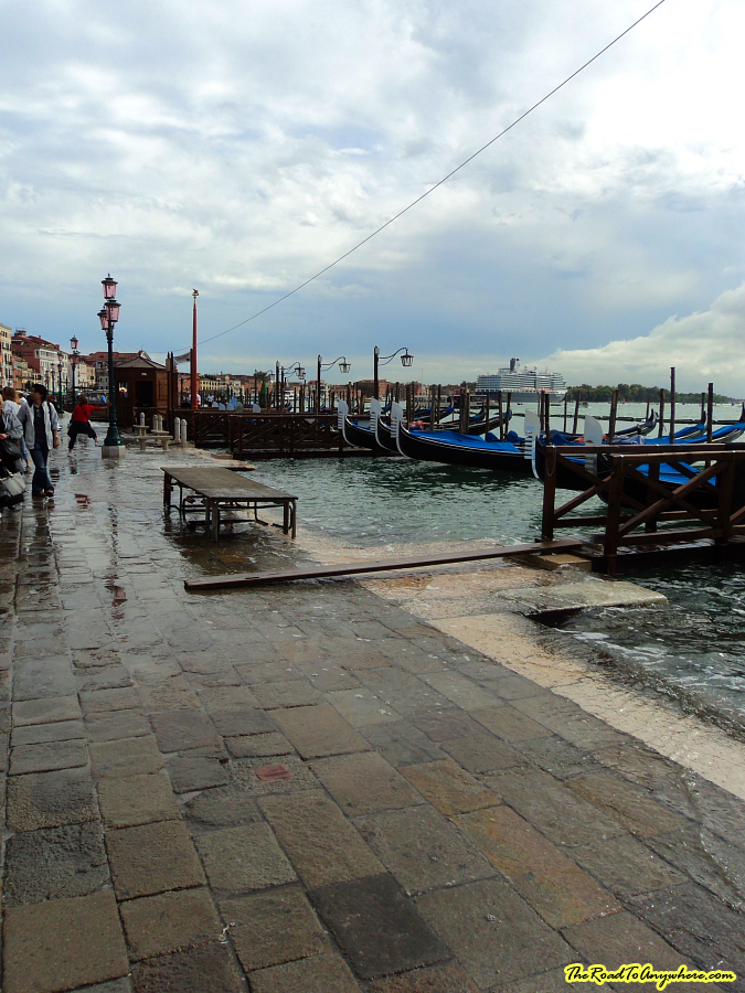 Foreshore at St Marks flooded in Venice, italy