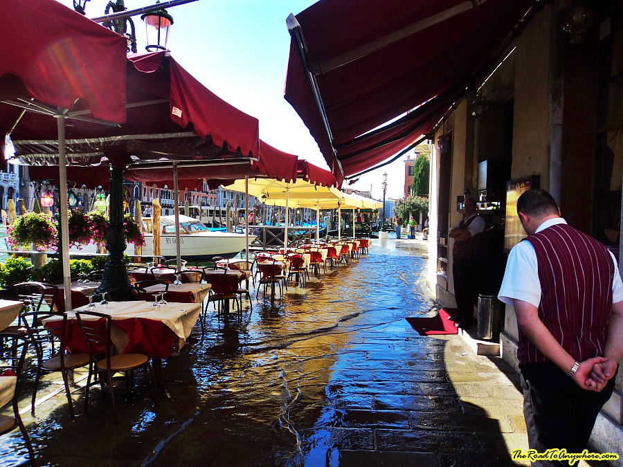 Flooded restaurant in Venice, italy