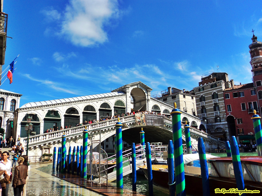 Flooding in Venice, Italy Rialto Bridge