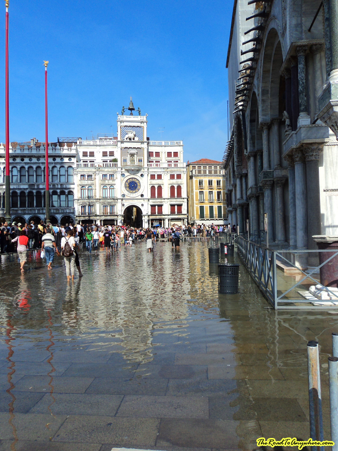 Flooding in Venice, Italy front of St mark's Basilica
