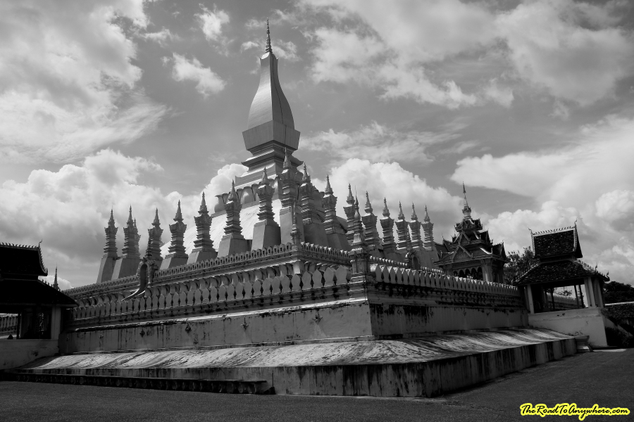 Pha That Luang in black and white in Vientiane, Laos