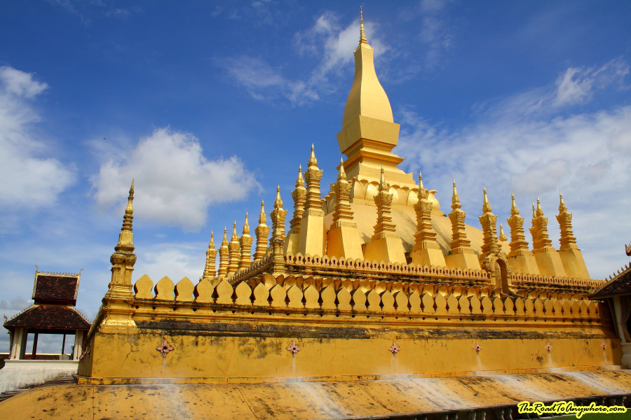Close up of Pha That Luang in Vientiane, Laos