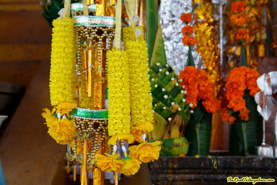 Flower decorations at Pha That Luang in Vientiane, Laos