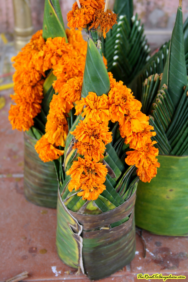 Buddhist flower offering at Pha That Luang in Vientiane, Laos