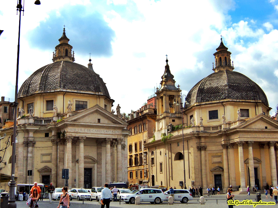 Twin churches in Piazza del Popolo in Rome, Italy