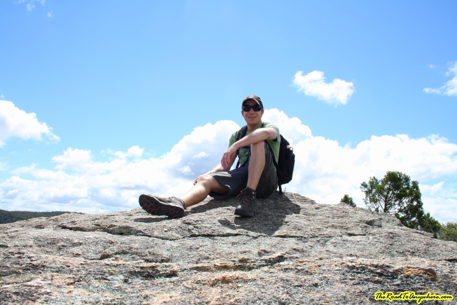 Sitting on top of The Pyramid in Girraween National Park, Australia