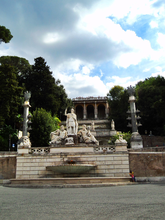 Fountain in Piazza del Popolo in Rome, Italy