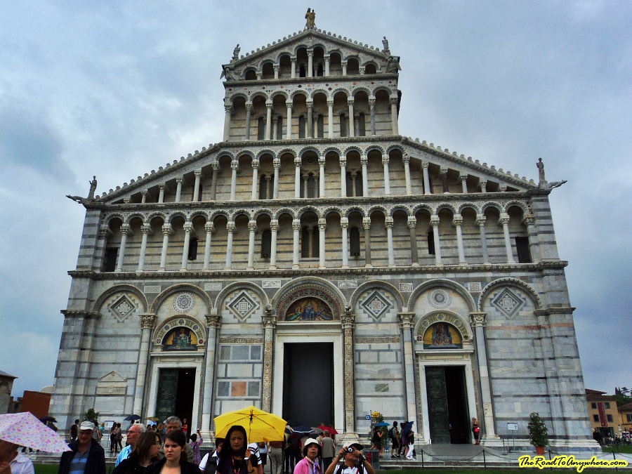 Front facade of the Pisa Cathedral in Pisa, Italy