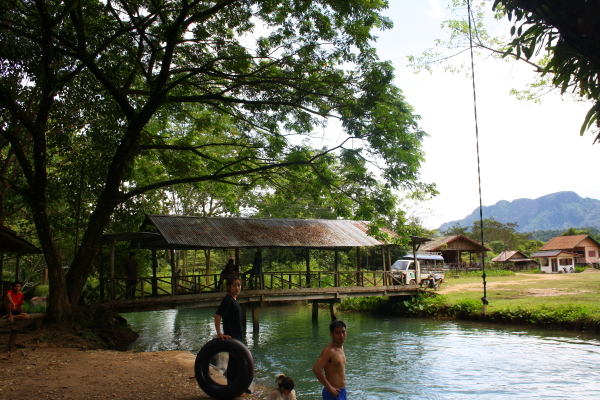 Swimming at the Blue Lagoon in Vang Vieng, Laos