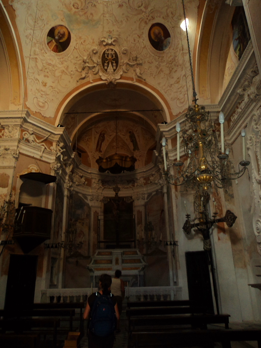 Interior of Chiesa di San Giovanni Battista in Monterosso, Italy