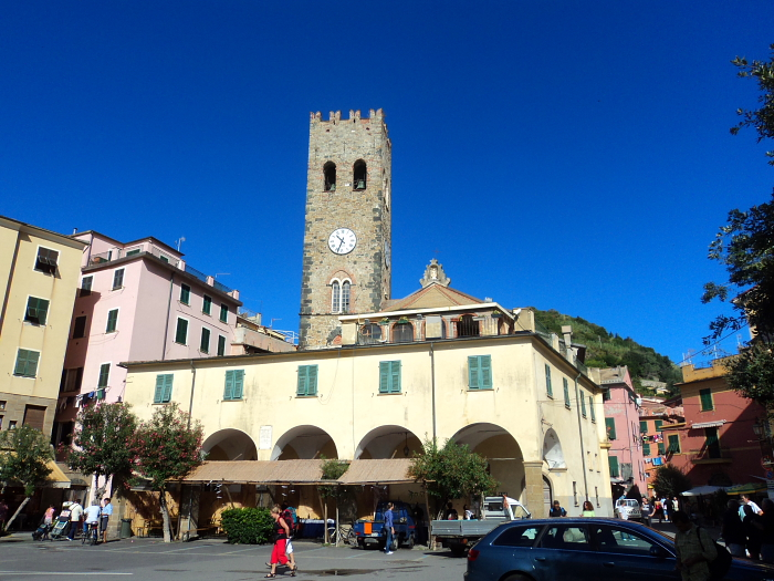 View of the campanile (bell and clock tower) in Monterosso, italy