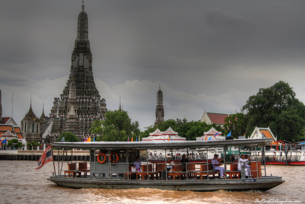 A ferry at Wat Arun on the Chao Phraya River in Bangkok, Thailand