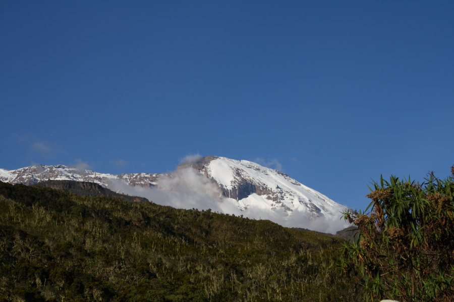 View of Kibo Peak from Machame Hut on Mount Kilimanjaro, Tanzania