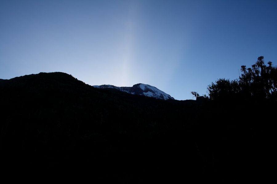 Kibo Peak at sunset from Machame Hut on Mount Kilimanjaro, Tanzania