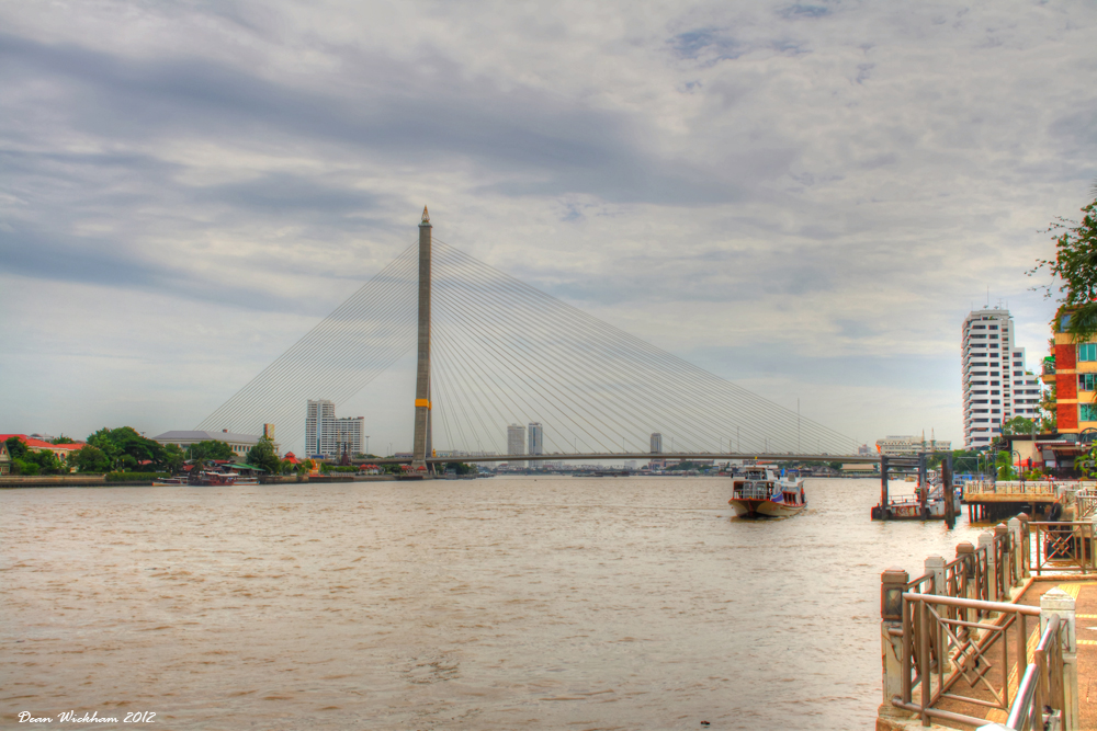 Rama VIII Bridge on the Chao Phraya River in Bangkok, Thailand