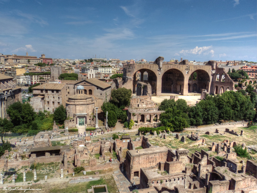 View of the ancient Roman Forum from Palatine Hill in Rome, Italy