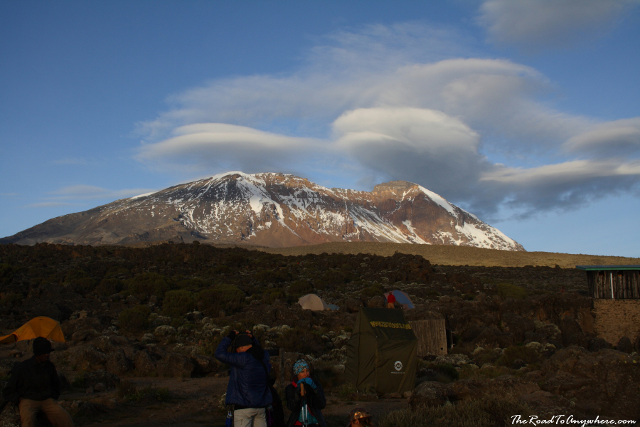 View of Kibo Peak from Shira Hut on Mount Kilimanjaro, Tanzania