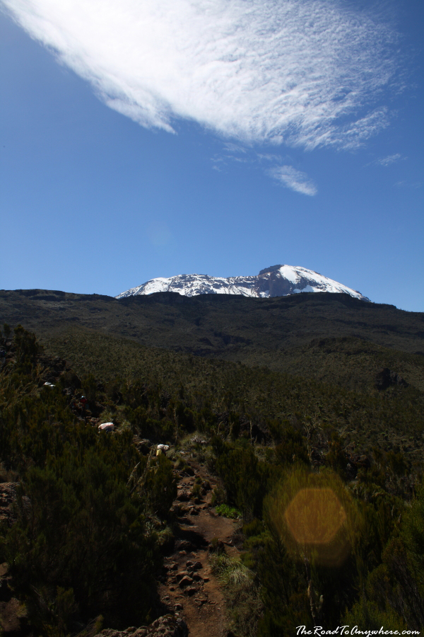 View of Kibo Peak on the Machame Route on Mount Kilimanjaro, Tanzania