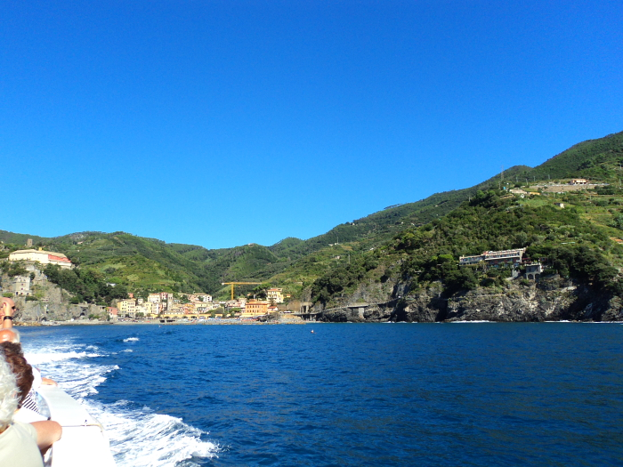 View of Monterosso from the ferry, Cinque Terre, Italy