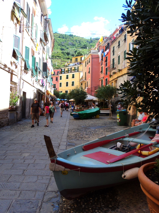 Boats in the main street of Vernazza, Cinque Terre, Italy