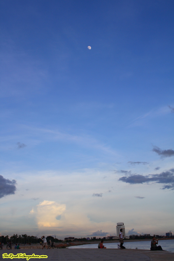 Moon at Sunset in Vientiane, Laos