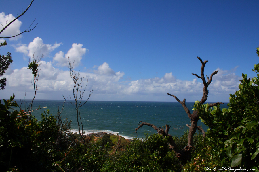 View towards cape byron as climbing up steps in Byron Bay, Australia