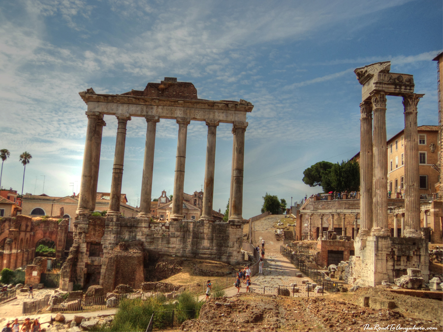Ruins in the ancient Roman Forum in Rome, Italy