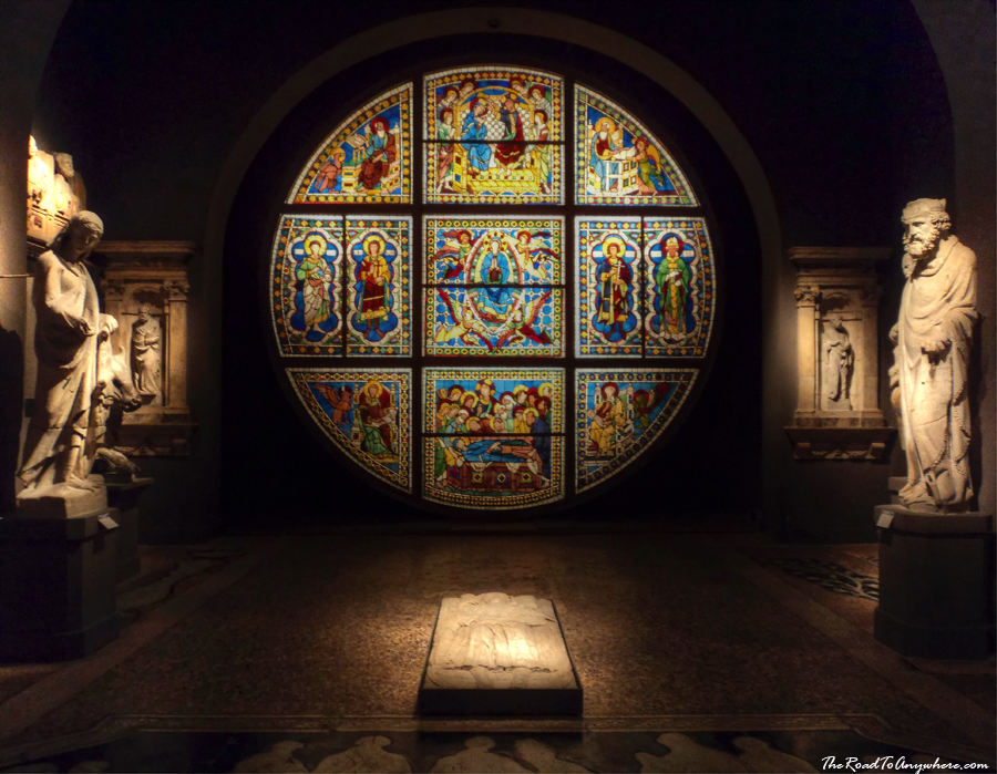 Stained glass window in Museo della Opera in Siena, Italy